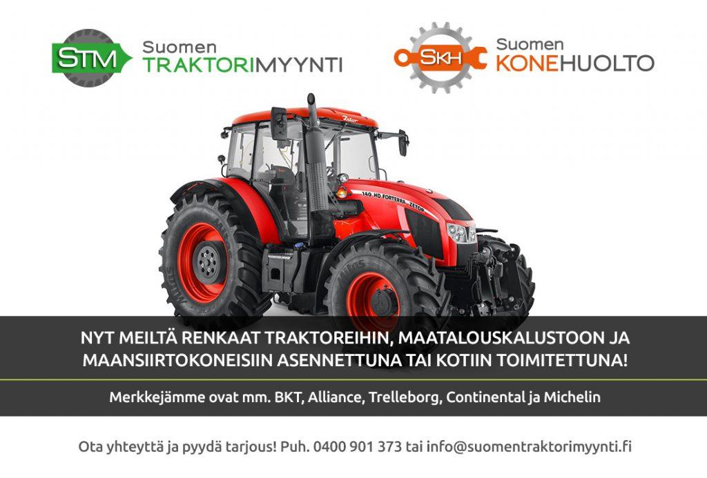 Suomen Traktorimyynti, renkaat asennettuna tai kotiin toimitettuna
